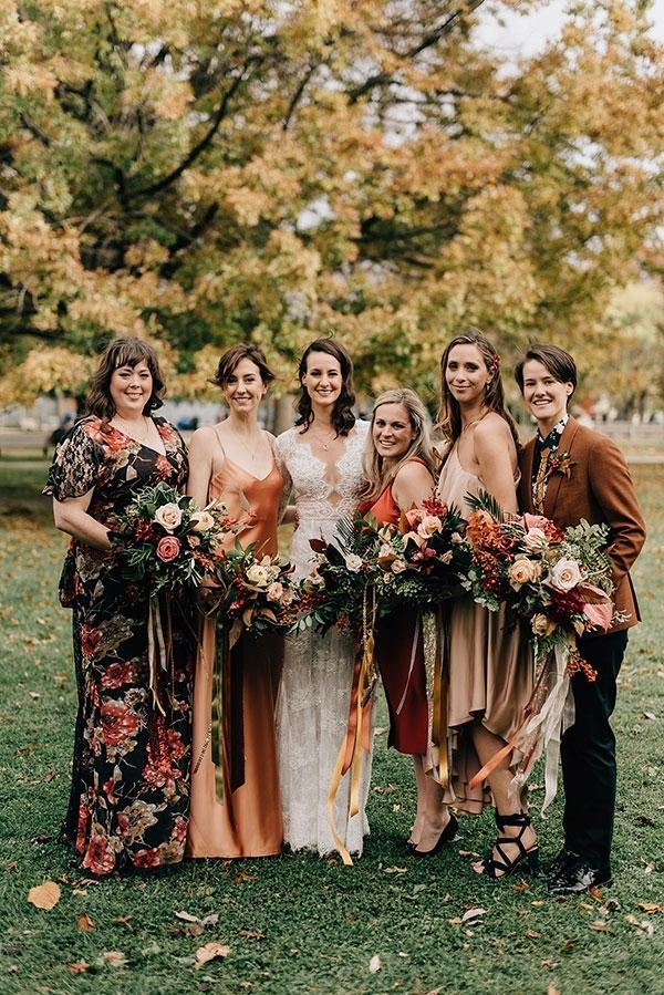 Brown and Orange Bridesmaid Dresses