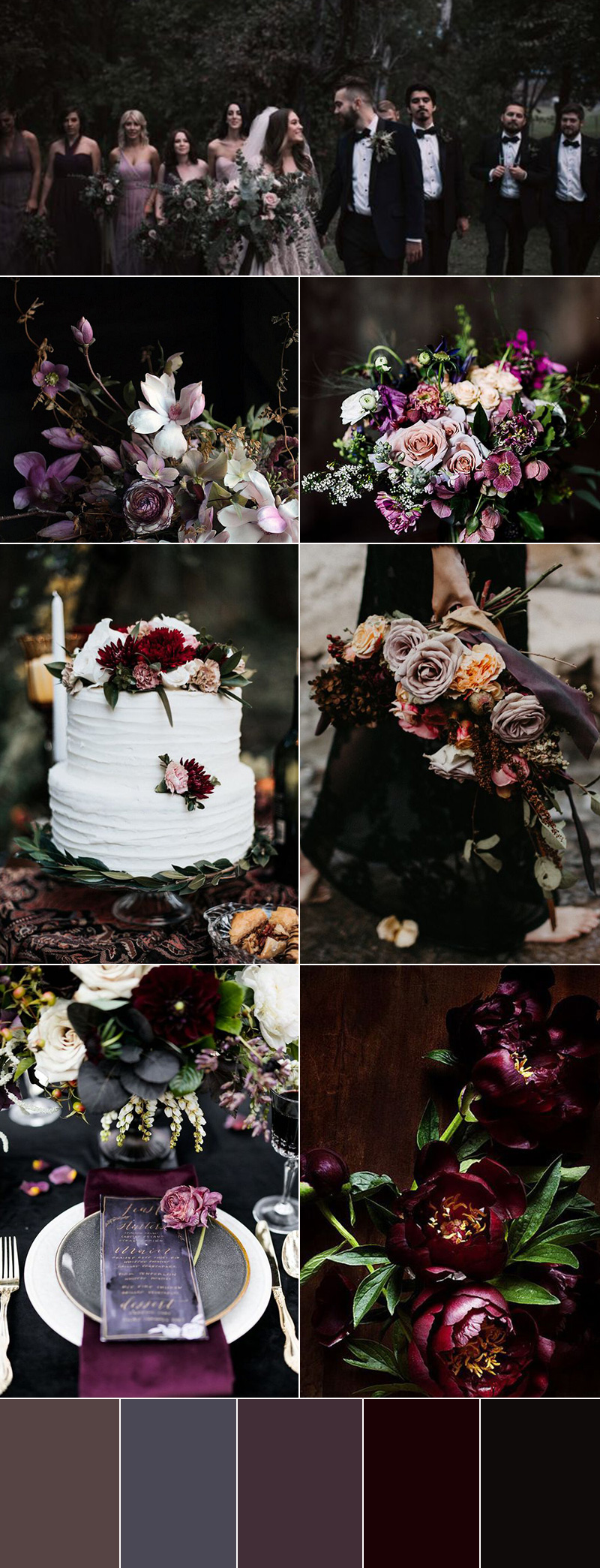 Fabulous Moody Jewel Toned Fall Wedding Bouquets & Floral Decors