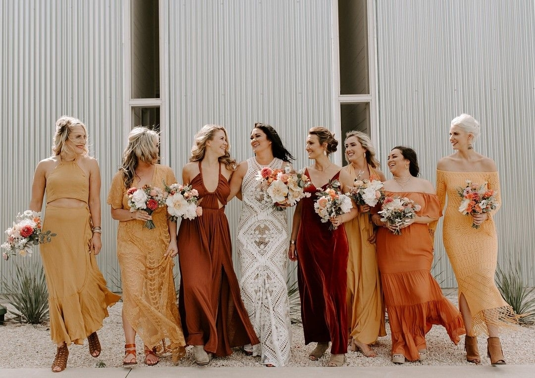 Brown and Burnt Orange Bridesmaid Dresses