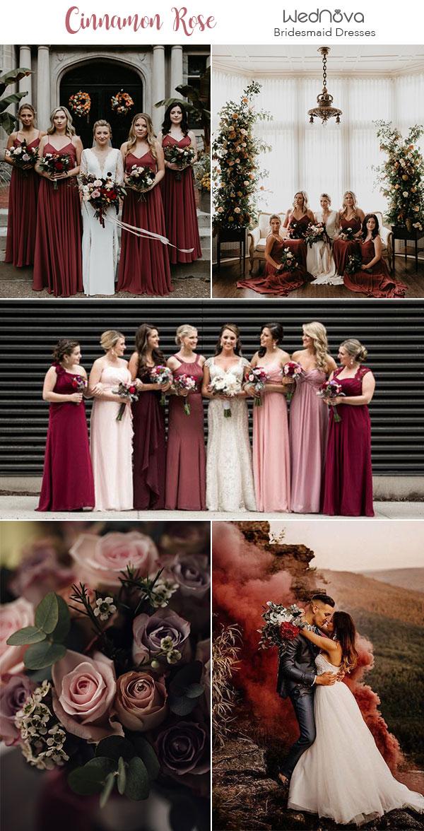 10 Trendy & Romantic Cinnamon Rose Bridesmaid Dresses and Wedding Ideas - WedNova Blog