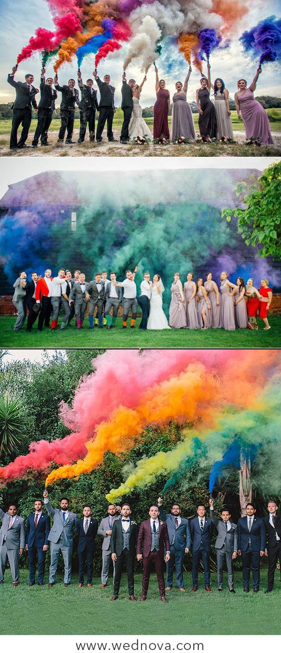 50 + Cool & Colorful Smoke Bomb Wedding Inspirations You