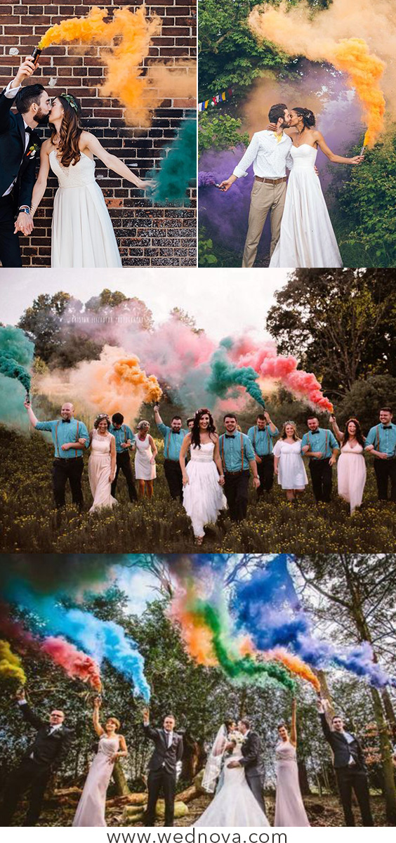 50 + Cool & Colorful Smoke Bomb Wedding Inspirations You Will Love