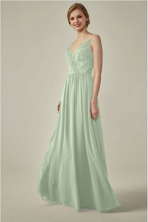 6f5658a1288 Spaghetti Straps Draped chiffon Lace Open-back Bridesmaid Dress