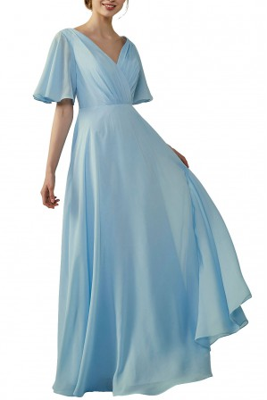d88cb5979c0 Casual V-Neck Flutter Chiffon Bridesmaid Dress with Sleeves
