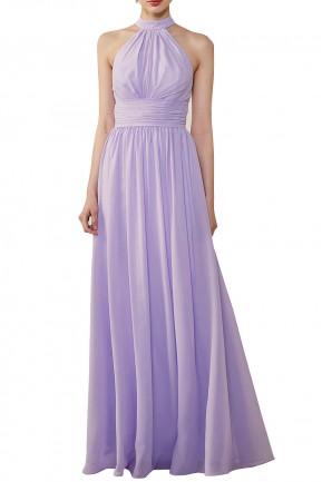 d0ee54dd513f Halter Neckline Chiffon Lace Back Halter Bridesmaid Dress with Sash
