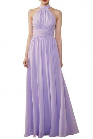 09a138dbd7 Halter Neckline Chiffon Lace Back Halter Bridesmaid Dress with Sash