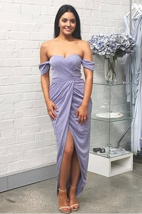 Sweetheart off shoulder ruched bridesmaid dress long with split