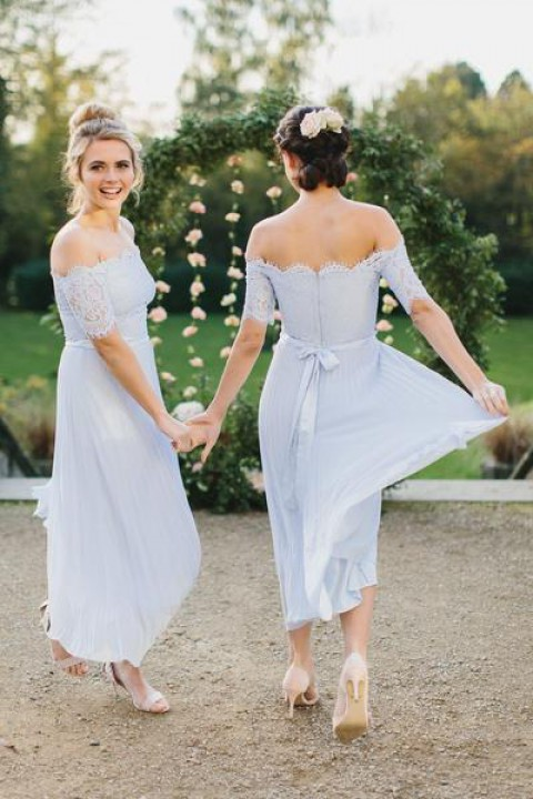 Clearance | Off shoulder lace bridesmaid dress with sleeves