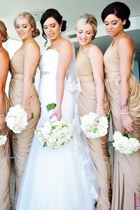 One Shoulder Draped Side Slit Bridesmaid Dress with Belt