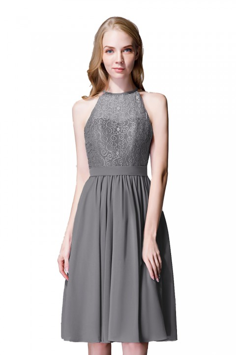 Illusion High Neck Halter Lace Short Bridesmaid Dress with Tie Detail