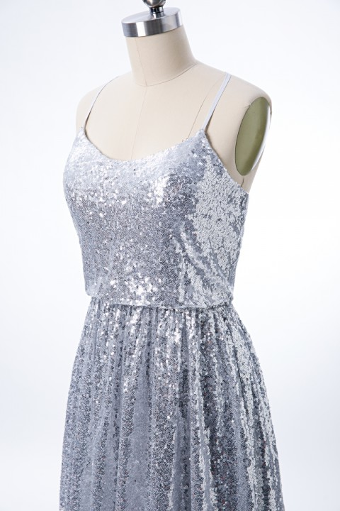 Adjustable Spaghetti Straps Crisscross Tie Back Sequin Bridesmaid Dress