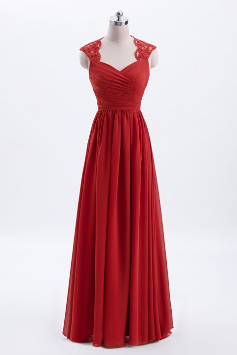 Modest Cap Sleeves Chiffon Long Bridesmaid Dress with Lace Back