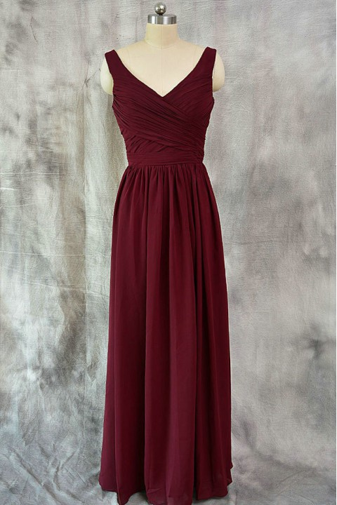 V Neck Pleated A-Line Bridesmaid Dress Long