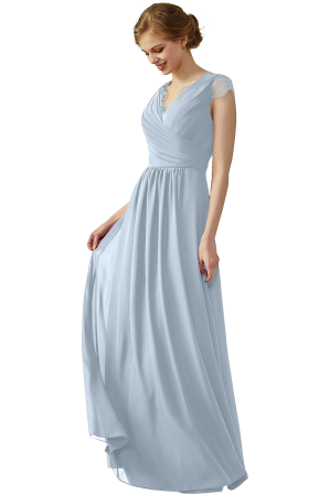 e15b31333b14 Clearance | Lace Cap Sleeves Ruched V-Neck Lace Back Bridesmaid Dress