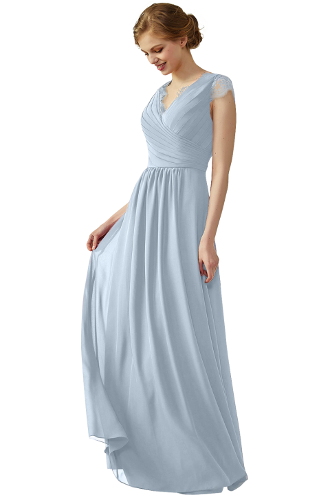 Clearance | Lace Cap Sleeves Ruched V-Neck Lace Back Bridesmaid Dress