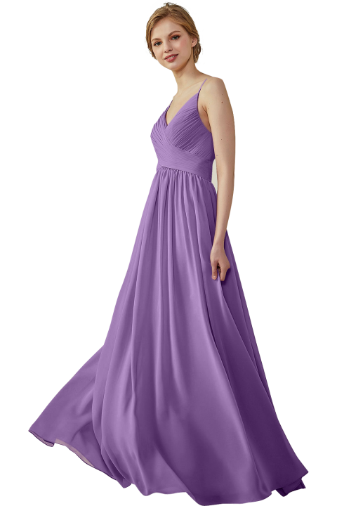 Spaghetti Straps Ruched V Neck Long Bridesmaid Dress