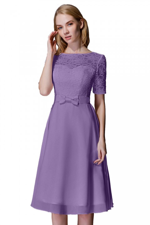 Elbow Sleeves Lace Illusion Scoop Neck Short Bridesmaid Dress with Silk Bowknot