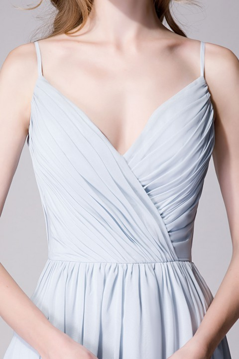 Spaghetti Straps Chiffon Bridesmaid Dress Open-back
