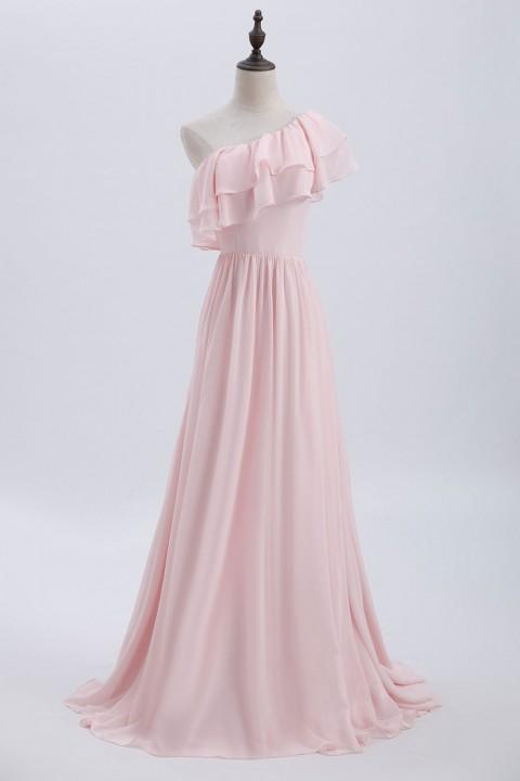 b0c9042b1e2e One-Shoulder Flounce Chiffon Bridesmaid Dress