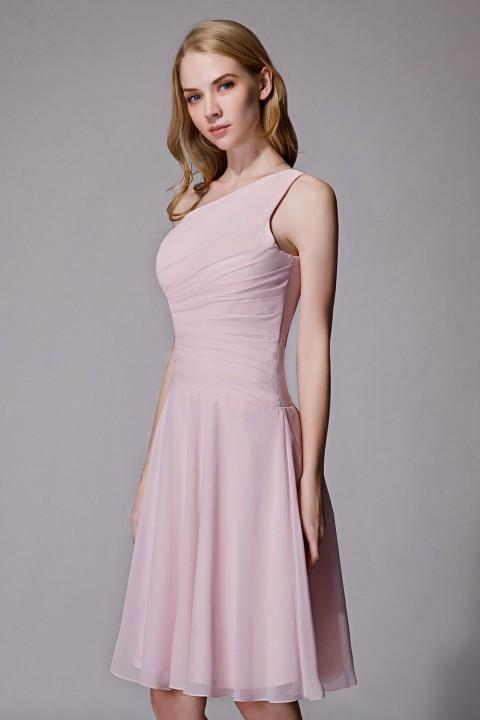 Asymmetrical One-Shoulder Chiffon Ruched Bridesmaid Dress Short