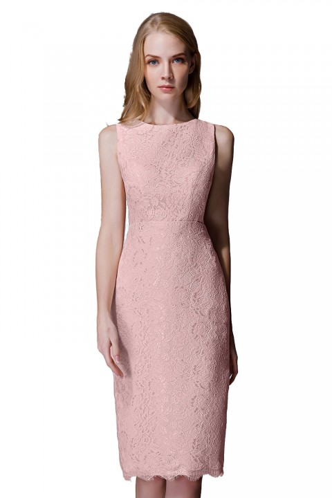 Elegant Boatneck Lace Short Bridesmaid Dress with Keyhole Back
