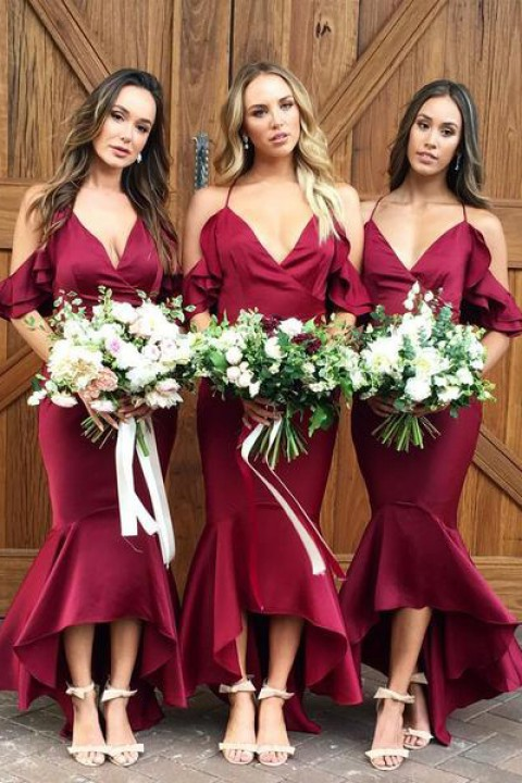 Flutter sleeves bridesmaid dress mermaid