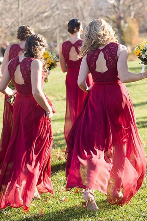 Lace straps v neck bridesmaid dress with keyhole back