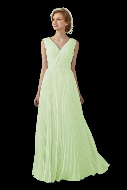 Chiffon V-Neck and V-Back A-Line Pleated Bridesmaid Dress
