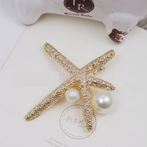 Starfish Shaped Pearl Decor Hairpin (3 in a set)