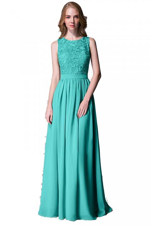 Lace Upper Bodice Illusion Scoop Neck Chiffon Bridesmaid Dress Sleeveless