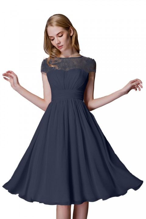 Cap Sleeves Scoop Neck Illusion Lace Back Short Bridesmaid Dress