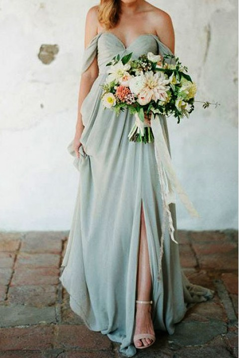 Off the shoulder bridesmaid dress with split