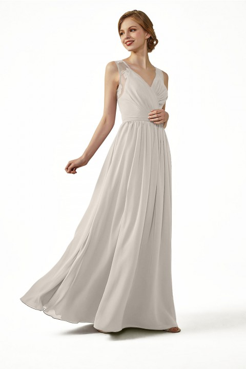 Lace Illusion Back Closure with Button Ruched V-Neck Bridesmaid Dress