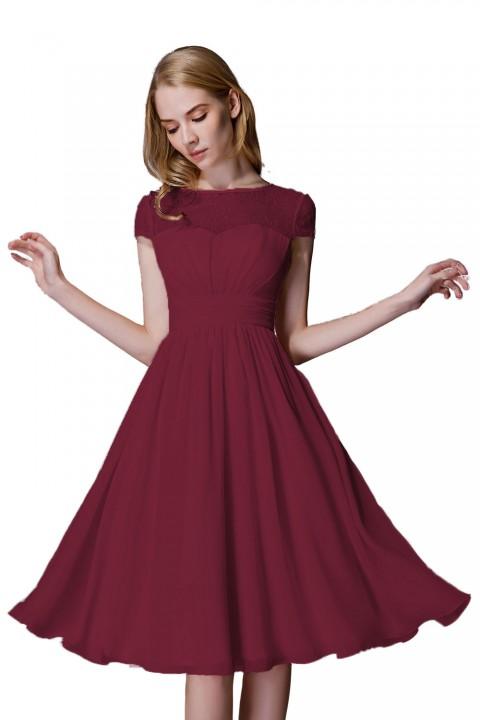 Tea length Bridesmaid Dress with Lace Bodice Illusion Neckline