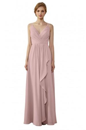 f8f9a7a8f25 Ruffled Skirt Lace Illusion Back V-Neck Bridesmaid Dress