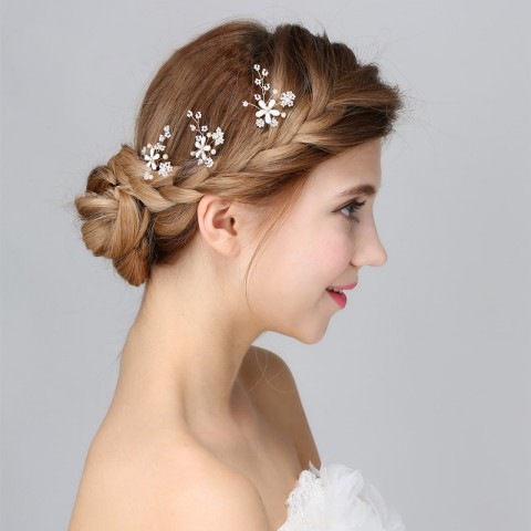 Flower Shaped Pearl Decor Bridal Hairpin (3 in a set)