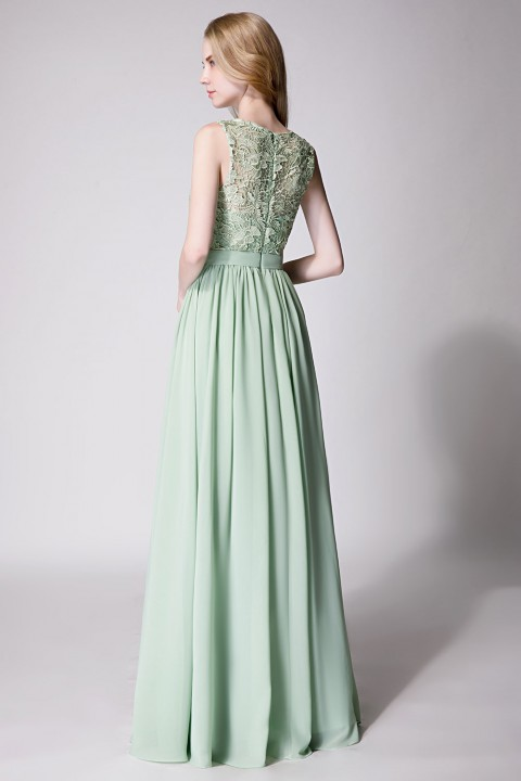 Clearance  Lace Upper Body Chiffon Bridesmaid Dress without Sleeves
