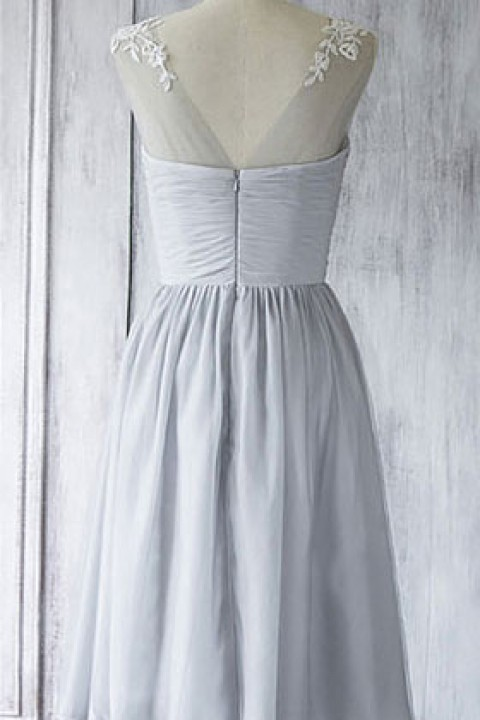 Lace Illusion Scoop Neck Sweetheart Short Pleated Bridesmaid Dress