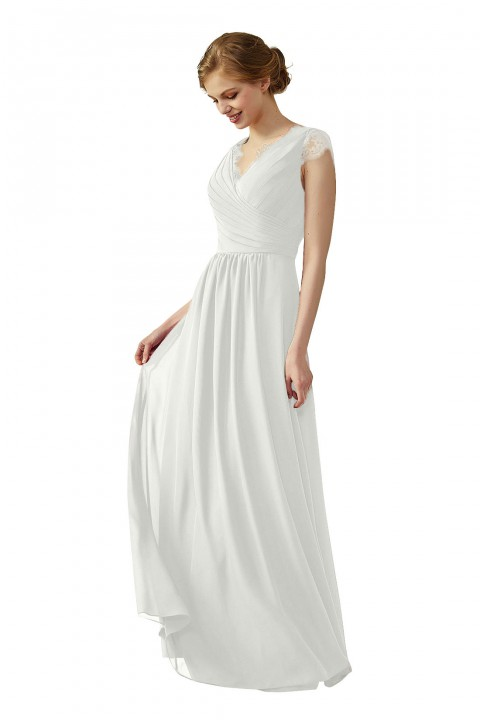 Lace Cap Sleeves  V-Neck Lace Back Closure with Keyhole Bridesmaid Dress