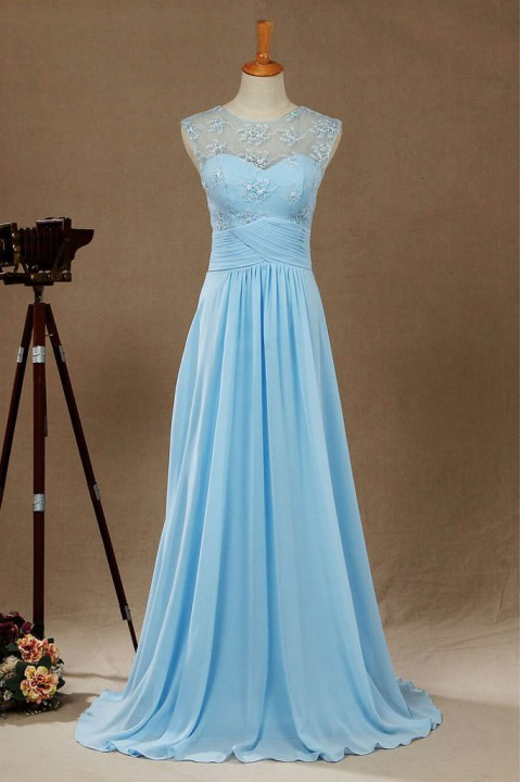Lace Illusion Back Scoop Criss-Pleated Waist Bridesmaid Dress Long
