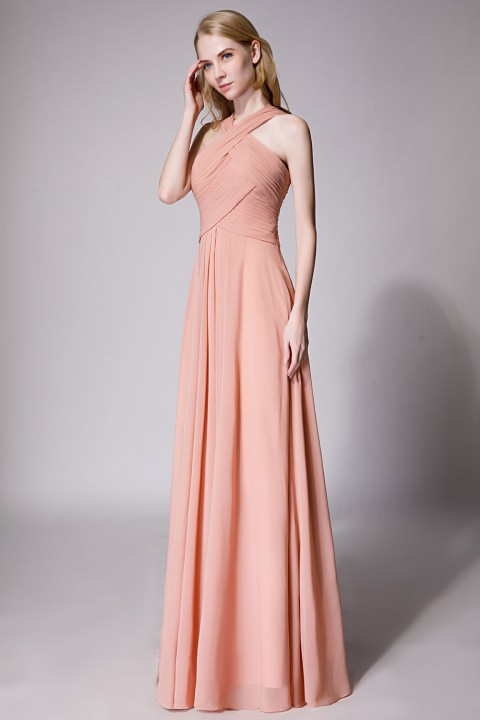 Chic A-Line V-Neck Chiffon Dress with Front Cascade