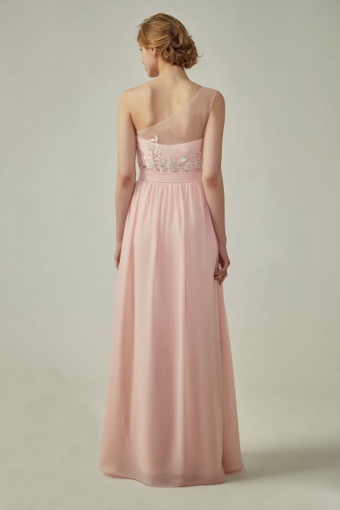Clearance | Illusion Sweetheart One Shoulder Tulle A-Line Bridesmaid Dress