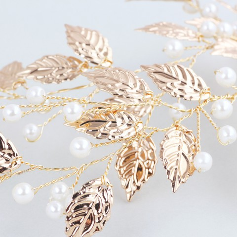 Elegant Leaf Shaped Pearl Decor Bridal Hairpin