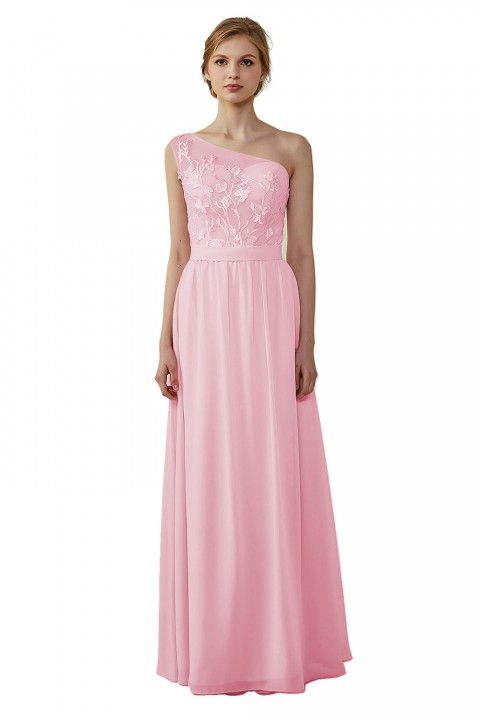 Illusion Sweetheart One Shoulder Lace A-Line Bridesmaid Dress