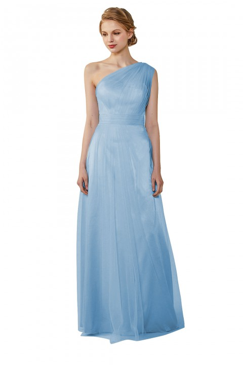 Romantic Illusion One-Shoulder Tulle Open Back Bridesmaid Dress