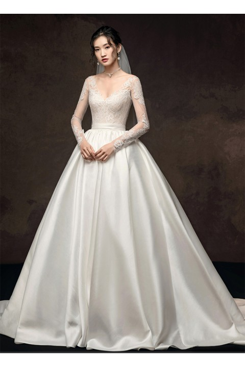 Long Sleeve Corset Back Lace Bodice Satin Skirt Ball Gown Wedding Dress With Train