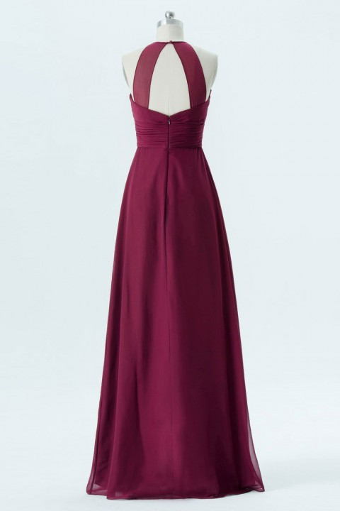 Illusion Halter Long Straps Back Chiffon Bridesmaid Dress
