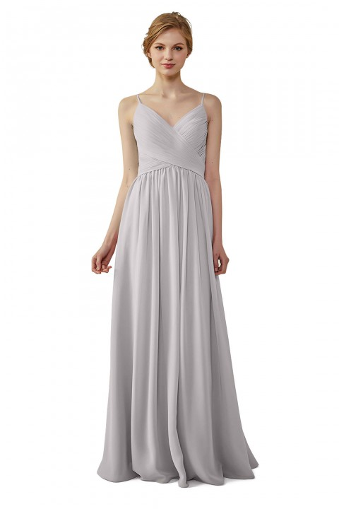 Clearance | Spaghetti Straps Ruched V Neck Long Bridesmaid Dress