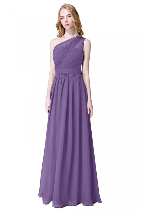 Illusion One-Shoulder Chiffon Pleated Bridesmaid Dress Long