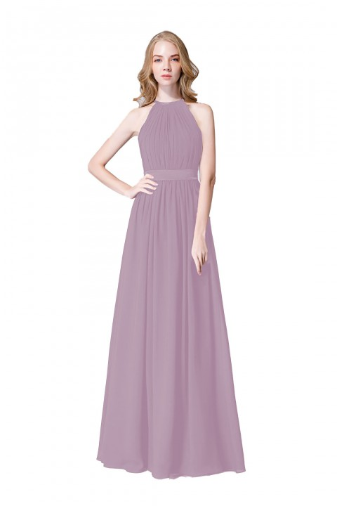 High Neck Chiffon Elegant Bridesmaid Dress